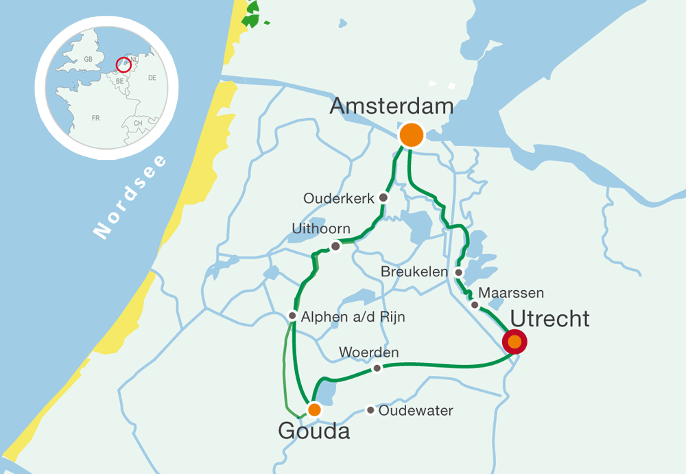 Map holland bike tours