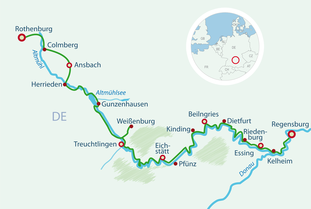 Map Cycling Holidays Altmühltal