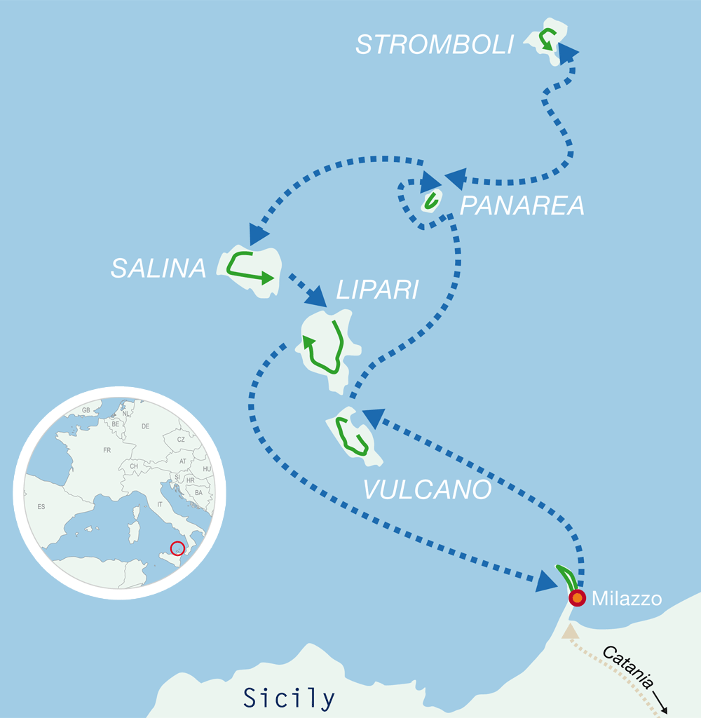 Map guided bike tours Sicily Aeolian Islands