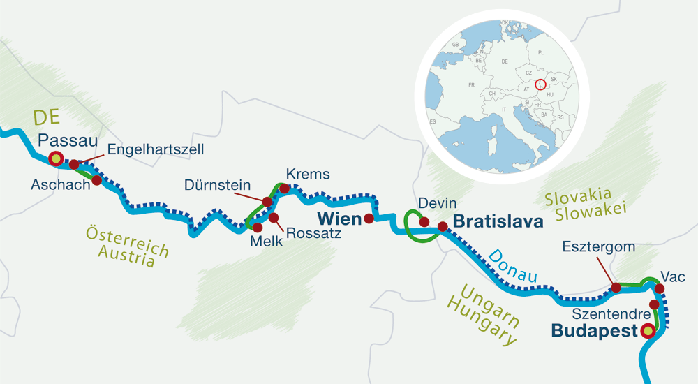 Map self-guided bike tours River Danube