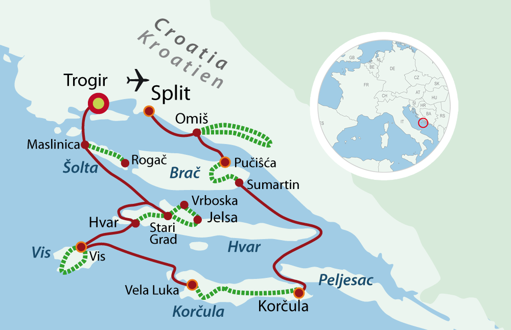 Map Southern Dalmatia  with bike and boat