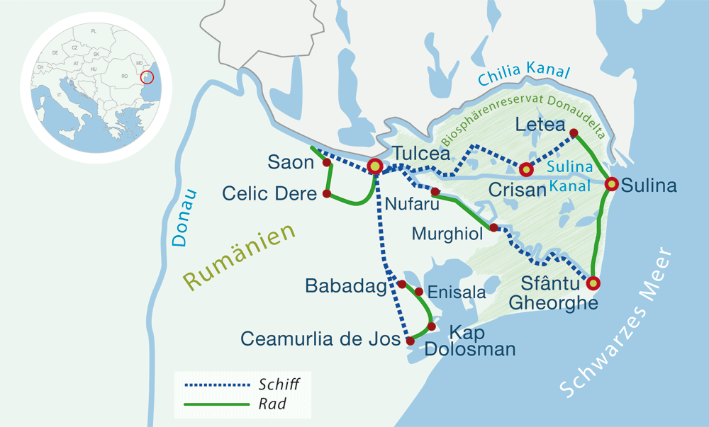 Map boat bike tours danube delta