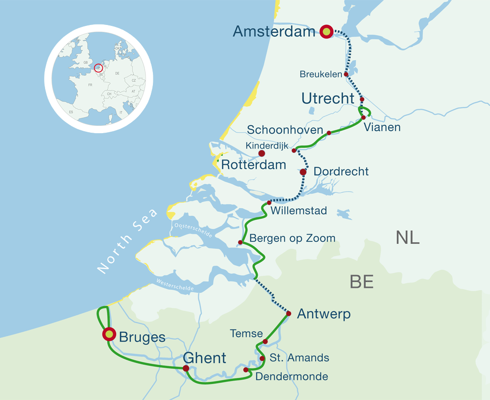 Map Bike Cruise Amsterdam to Bruges