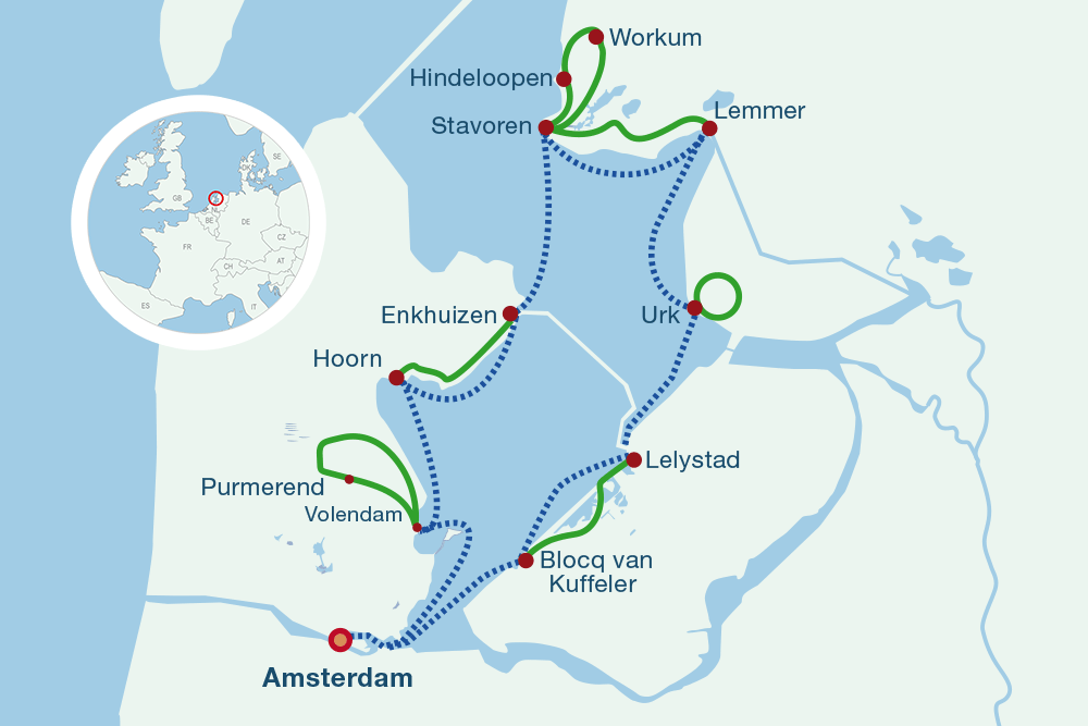Map sailing and biking IJseelmeer