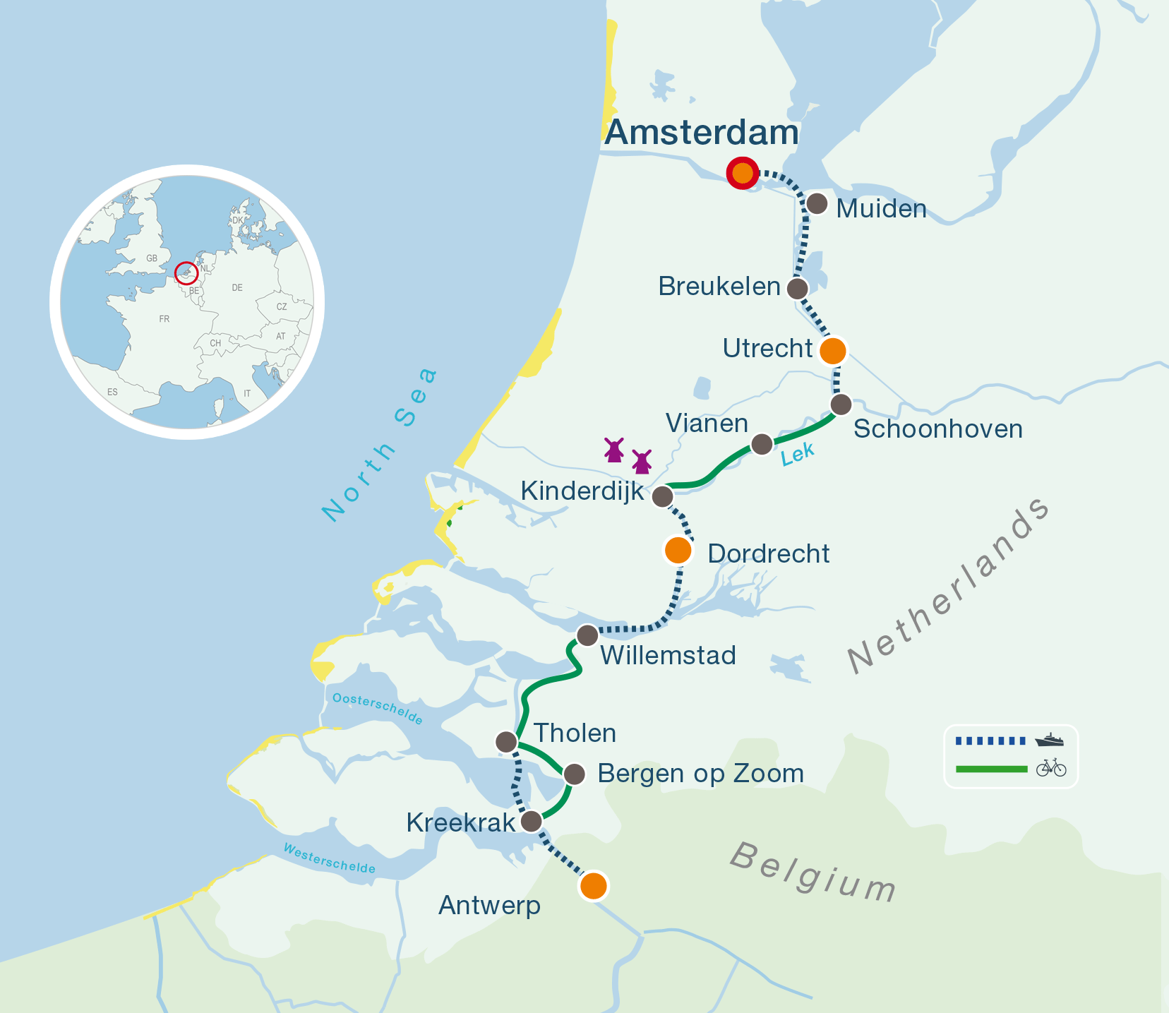 Map cycling holidays Amsterdam-Antwerpen