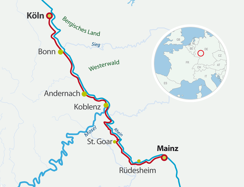 Map Bike Cruise Rhine valley: Strasbourg - Mainz