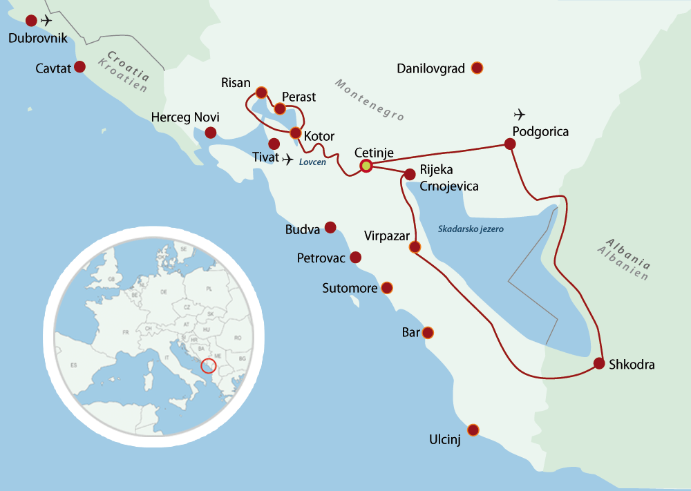 Map Montenegro Cycling Holiday