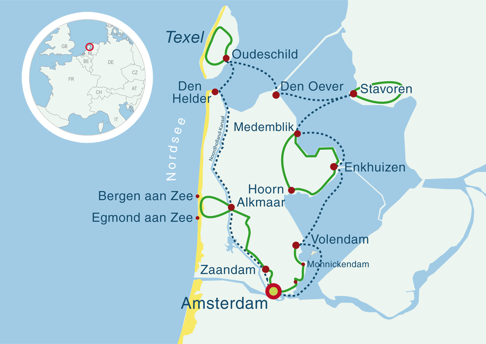 Map cycling cruises North Sea coast Holland