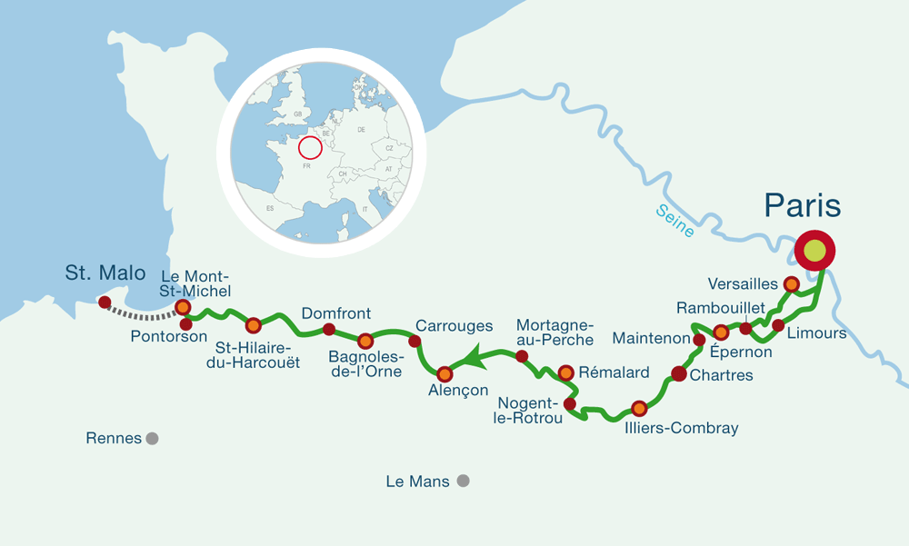 Map Cycling from Paris to Mont Saint Michel