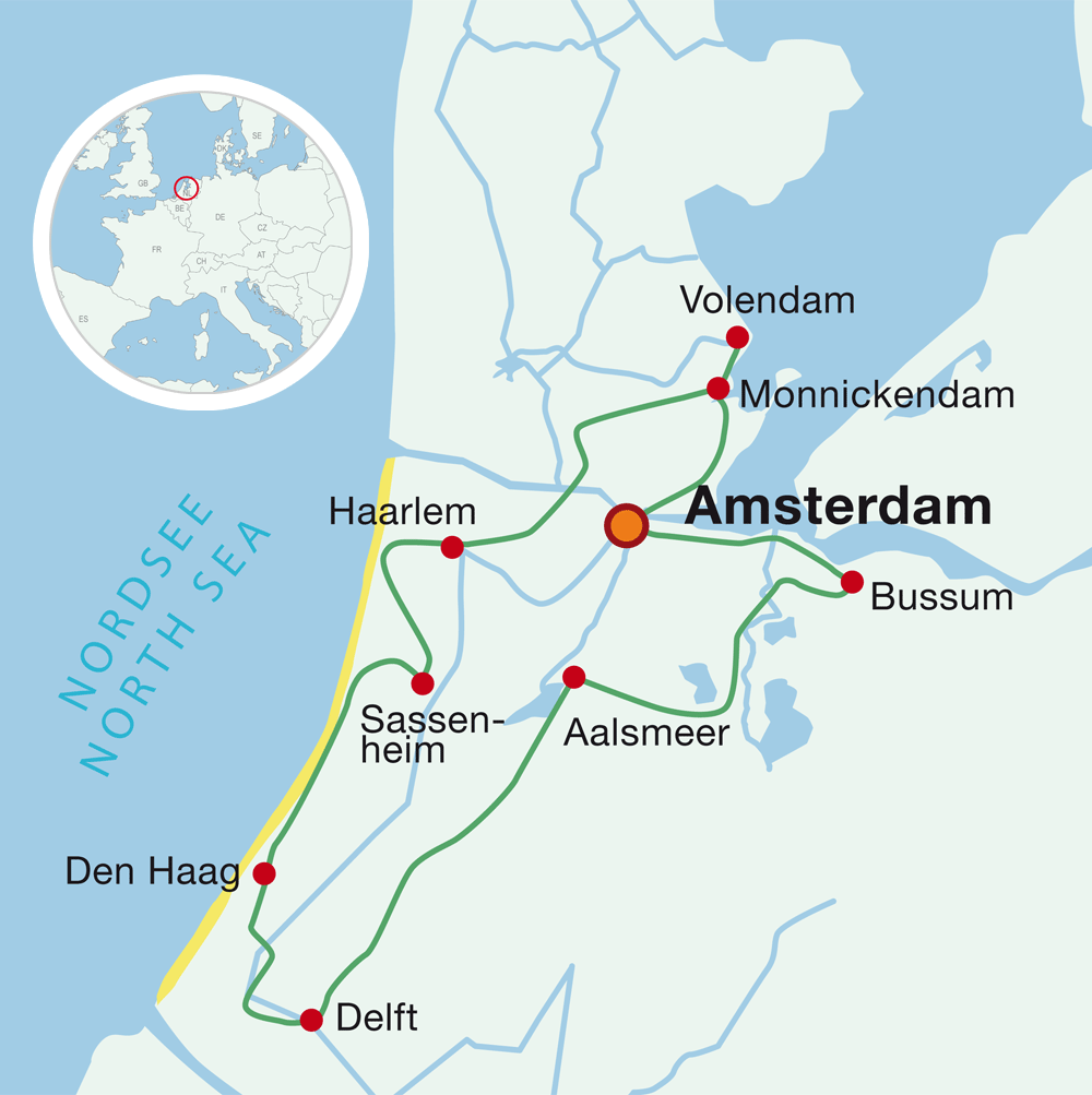 Map Cycling holiday holland