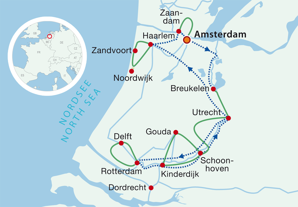 Map cycling holidays South Holland